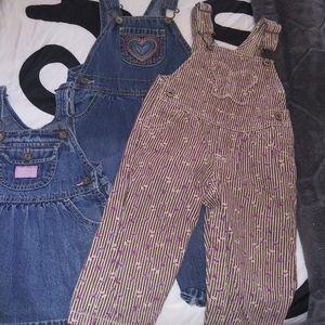 Lot three girls 12 months overalls